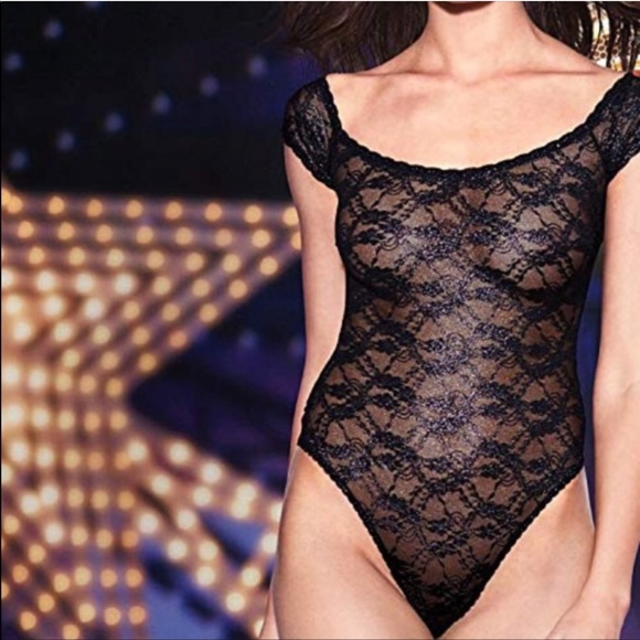 Victorias Secret Lace Mesh High Neck Open Back Teddy Lingerie Extra Small Xs Teddies